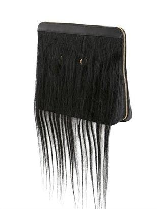 Leather Head Clutch W/ Human Hair