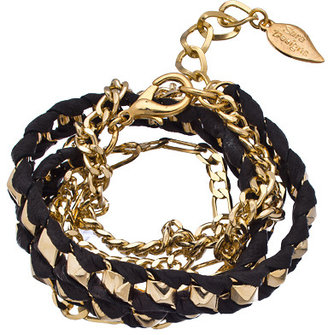 Sara Designs Gold Pyramid Chain and Black Leather Wrap Bracelet