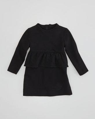 Milly Minis Long-Sleeve Peplum Dress, Black, Sizes 8-10