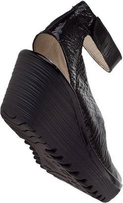 Fly London Yala Wedge Sandal Black Patent