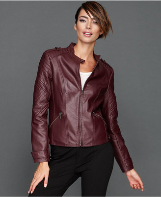 INC International Concepts Jacket, Faux-Leather Channel-Quilt Moto