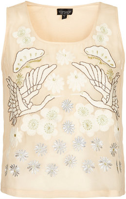 Topshop Embroidered Swan Shell Top