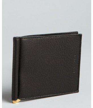Giorgio Armani black grained leather money clip bi-fold wallet
