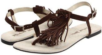 Michael Stars Fringe T-Strap Sandal (Patchouli) - Footwear