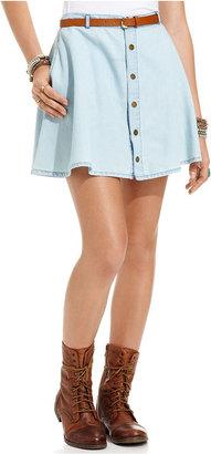 American Rag Juniors Skirt, Chambray High-Waist A-Line