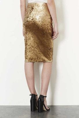 Topshop Gold Foil Velvet Tube Skirt