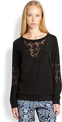 Patterson J. Kincaid PJK Spectra Floral-Embroidered Sheer-Paneled Sweatshirt
