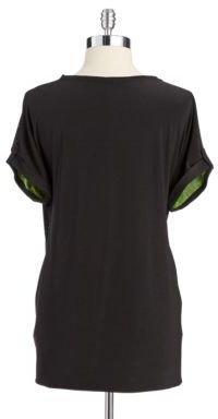 T Tahari Color Blocked Short Sleeve Blouse