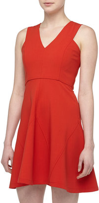 Derek Lam 10 Crosby V-Detailed Fit-And-Flare Dress, Poppy