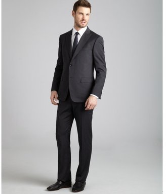 Z Zegna Zegna black pinstripe wool 2-button 'City' suit with flat front pants