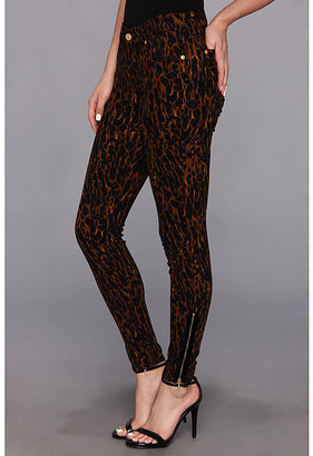 7 For All Mankind Skinny w/ Ankl Zip in Leopard Sateen