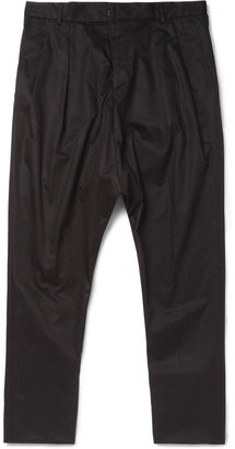 Givenchy Double-Pleated Drop-Crotch Cotton Trousers