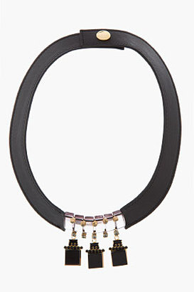 Marni Black Leather JEweled Collar