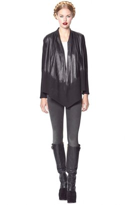 Alice + Olivia Washed 5 Pocket Skinny Jean With Leather Detail