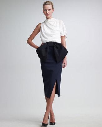 Donna Karan Duchess Satin Jersey Slit Skirt