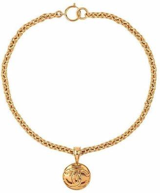 Susan Caplan Vintage Gold-Tone Chanel Logo Pendant Necklace