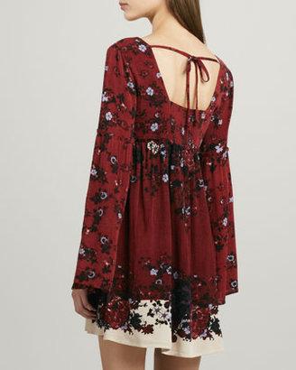 Free People Bell-Sleeve Printed Swing Dress