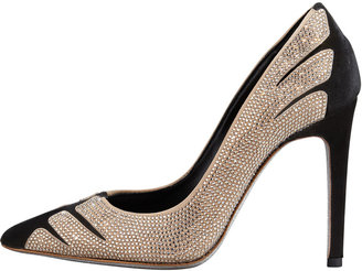 Rene Caovilla Velvet Strass Linear Pointed-Toe Pump, Black/Golden