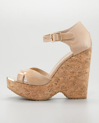 Jimmy Choo Pape Patent Wedge Sandal, Nude