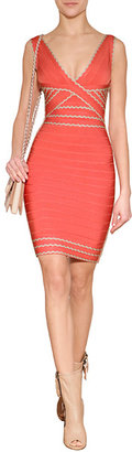Herve Leger Scalloped Bandage Dress in Deep Sea Coral