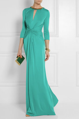 Issa Embellished silk-jersey gown