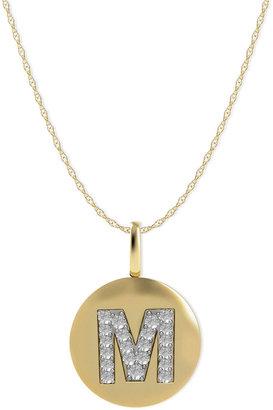 14k Gold Necklace, Diamond Accent Letter M Disk Pendant