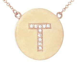Jennifer Meyer Diamond Letter Necklace - T - Rose Gold
