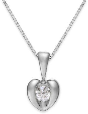 Sirena Diamond Heart Pendant Necklace in 14k Yellow or White Gold (1/10 ct. t.w.)