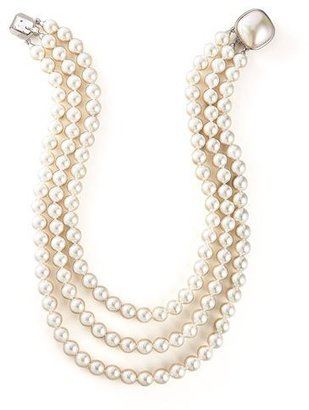 Majorica 8MM WHT PEARL 3 ROW NECKLACE