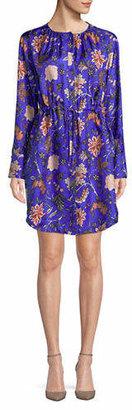 Diane von Furstenberg Long-Sleeve Cinched Waist Silk Shirtdress