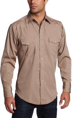 Wrangler Men's Tall Sport Western Snap Shirt Dobby Stripe