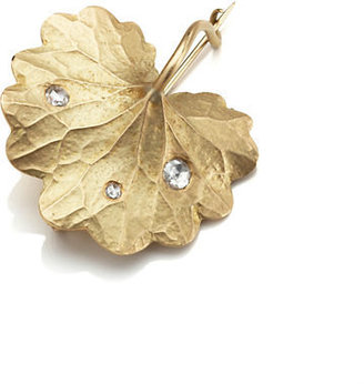 Gump's Gabriella Kiss Gold Scalloped Leaf & Diamond Brooch