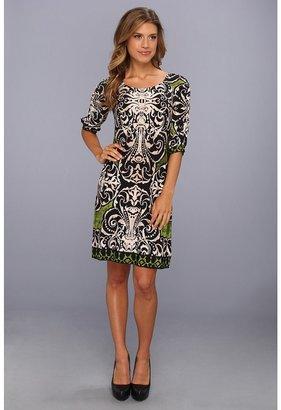Donna Morgan Gathered Elbow Sleeve Sheath Dress (Green Multi) - Apparel