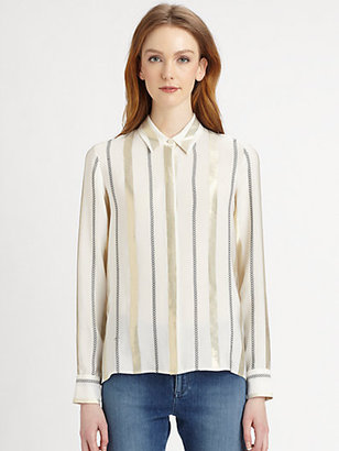 Stella McCartney Striped Silk-Blend Blouse