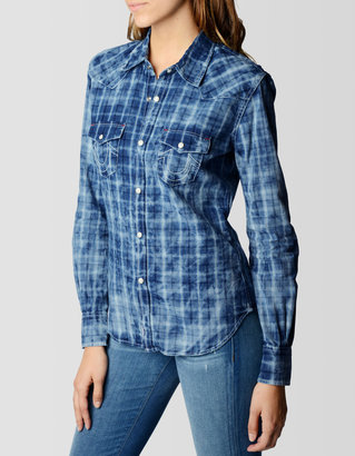 True Religion Womens Georgia Indigo Plaid Shirt