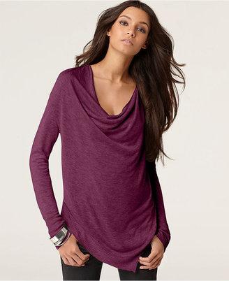Kensie Sweater, Long Sleeve Draped Asymmetrical Hem