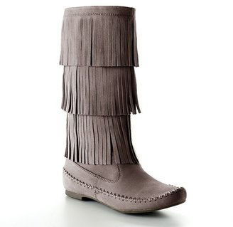 Lauren Conrad fringed midcalf boots - women