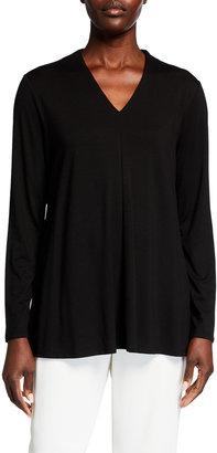 Eileen Fisher Petite V-Neck Long-Sleeve Lyocell Jersey Tunic