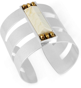 Kenneth Cole New York Bracelet, Silver-Tone Ivory-Colored Geometric Bead Cuff Bracelet