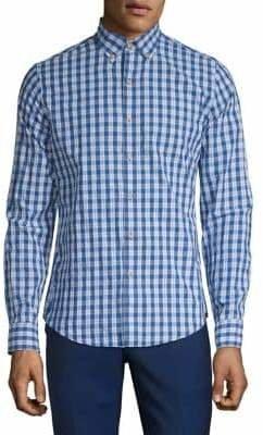 Izod Long-Sleeve Check Button-Down Shirt