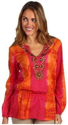 MICHAEL Michael Kors Chibori Tie Dye Embellished Top (Lacquer Pink) - Apparel