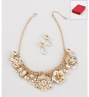 Other Holiday Goldtone Floral Necklace with Earrings
