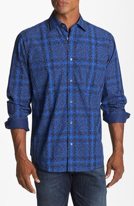 Bugatchi Paisley Check Classic Fit Cotton Sport Shirt