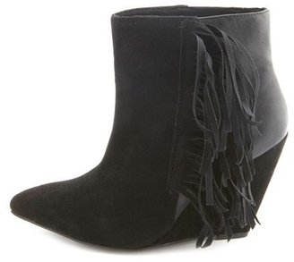 Charlotte Russe Sueded Fringe Pointed Toe Wedge