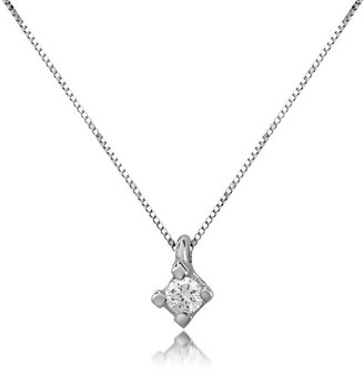 Forzieri 0.03 ct Diamond Solitaire Pendant 18K Gold Necklace