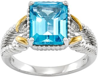 Sterling Two-Tone Choice of Emerald-Cut Gemstone Ring