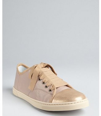 Lanvin nude and gold leather grosgrain lace up sneakers