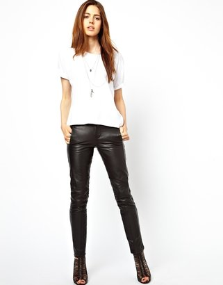 Asos Skinny Leather Pants with Biker Detail