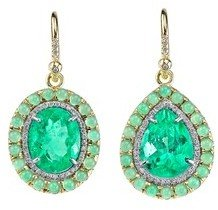 Irene Neuwirth Emerald Teardrop Earrings with Diamonds and Chrysoprase