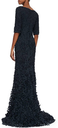 O'Neill Theia by Don Half-Sleeve V-Neck Petal Gown